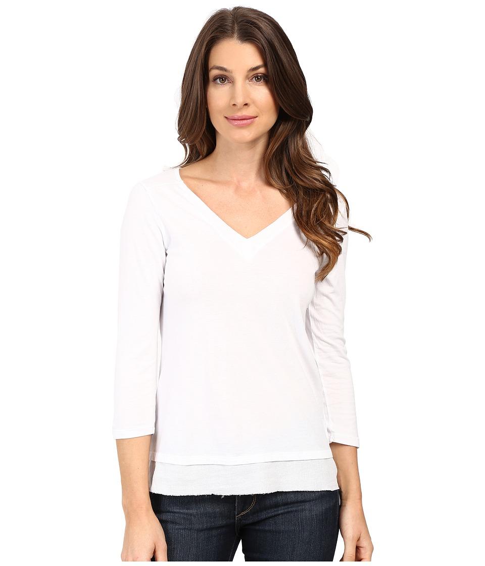 Mod-o-doc - Supreme Jersey V-Neck Tee w/ Woven Trim (White) Women's T Shirt