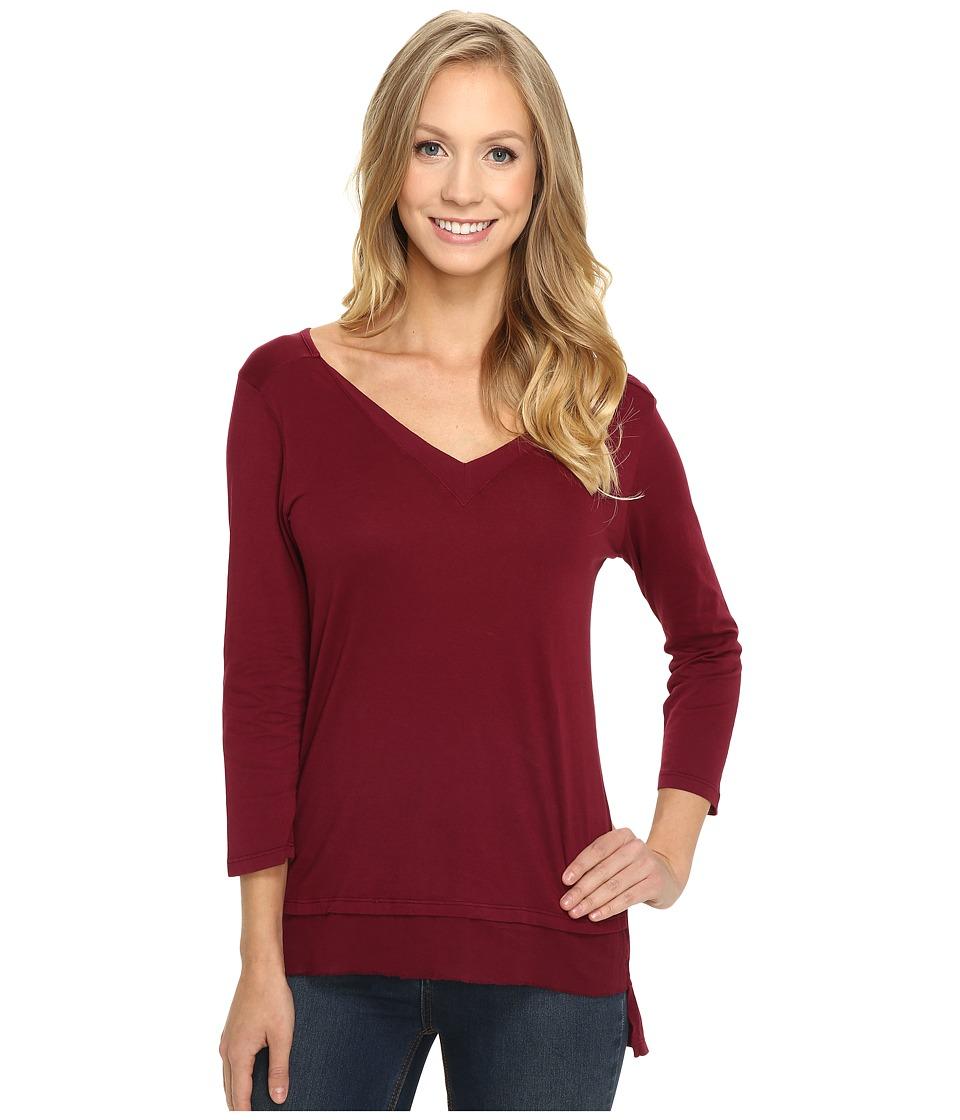 Mod-o-doc - Supreme Jersey V-Neck Tee w/ Woven Trim (Chianti) Women's T Shirt