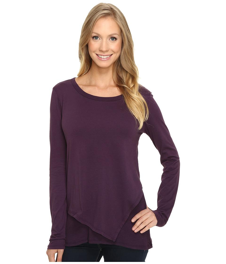 Mod-o-doc - Supreme Jersey Asymmetrical Tee w/ Rib Trim (Aubergine) Women's T Shirt