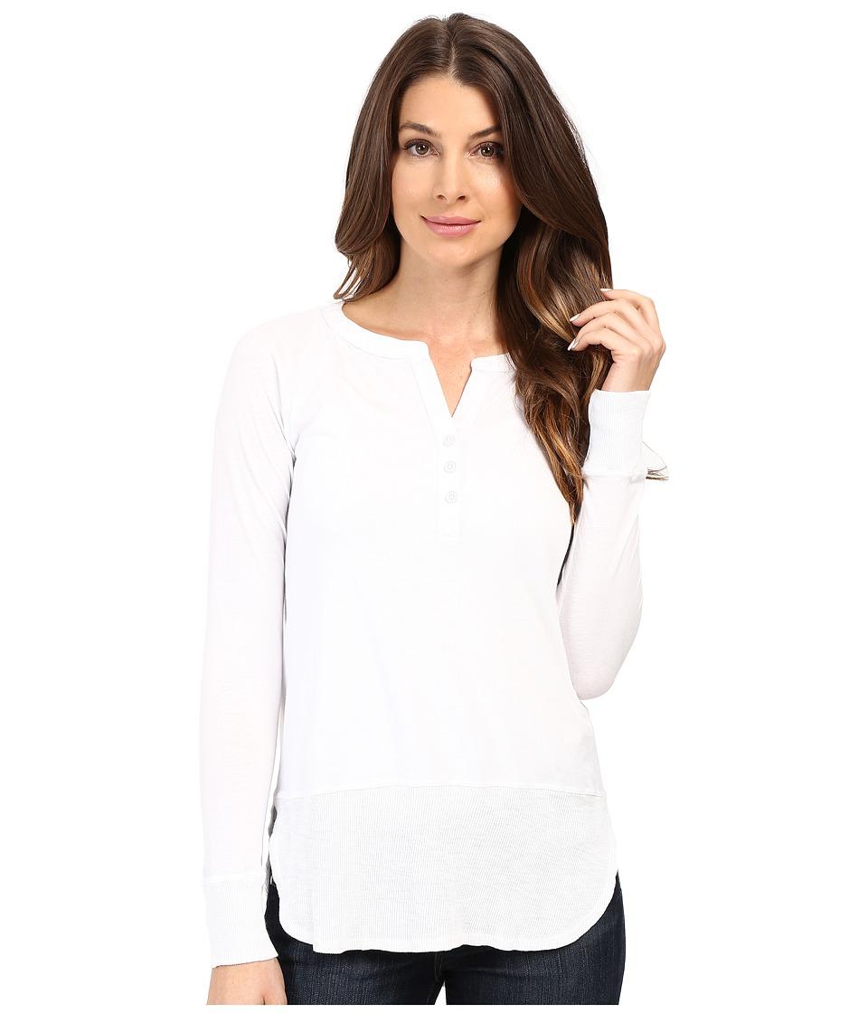 Mod-o-doc - Supreme Jersey Split Henley Tee w/ Rib Trim (White) Women's T Shirt