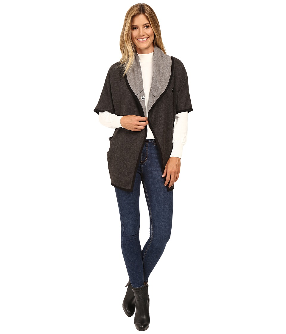 Mod-o-doc - Two-Tone Ponte Snap Front Poncho Coat (Dark Grey) Women's Coat
