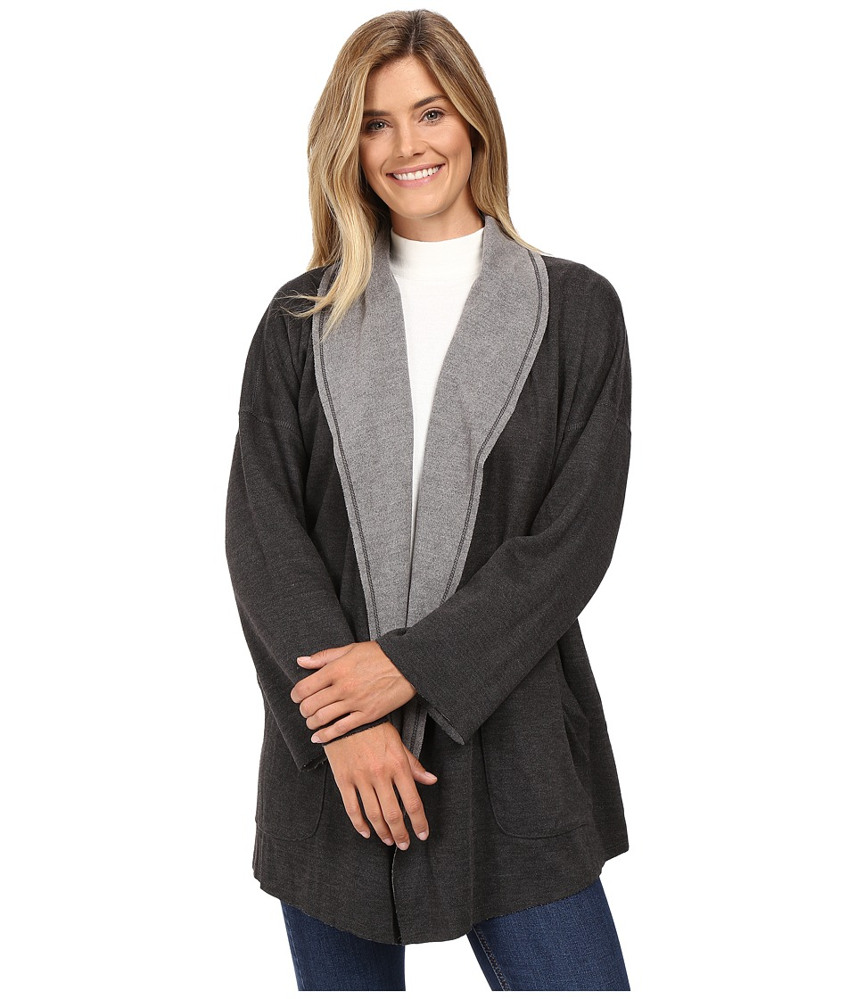 Mod-o-doc - Two-Tone Ponte Reversible Kimono Sleeve Coat (Dark Grey) Women's Coat