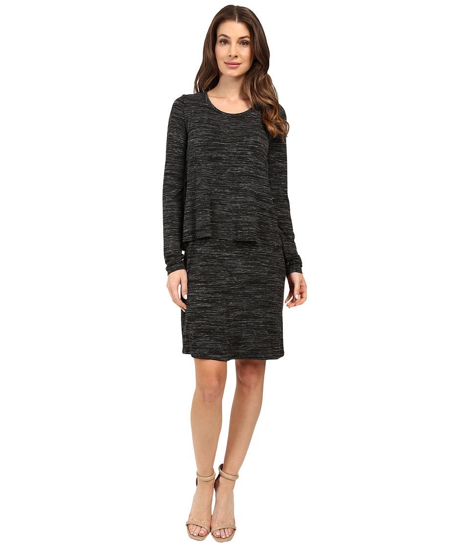 Mod-o-doc - Space Dye Rayon Spandex Jersey Long Sleeve T-Shirt Overlay Dress (Black Heather) Women's Dress