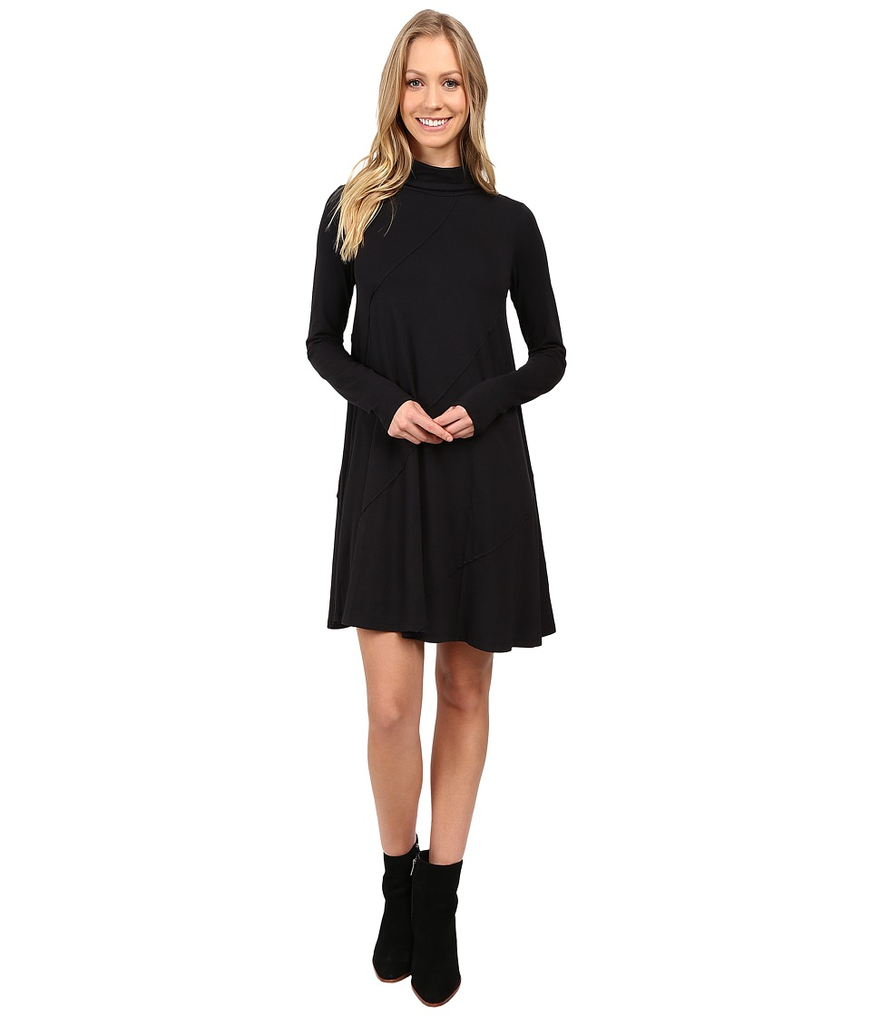 Mod-o-doc - Cotton Modal Spandex Jersey Seamed Funnel Neck Swing Dress (Black) Women's Dress