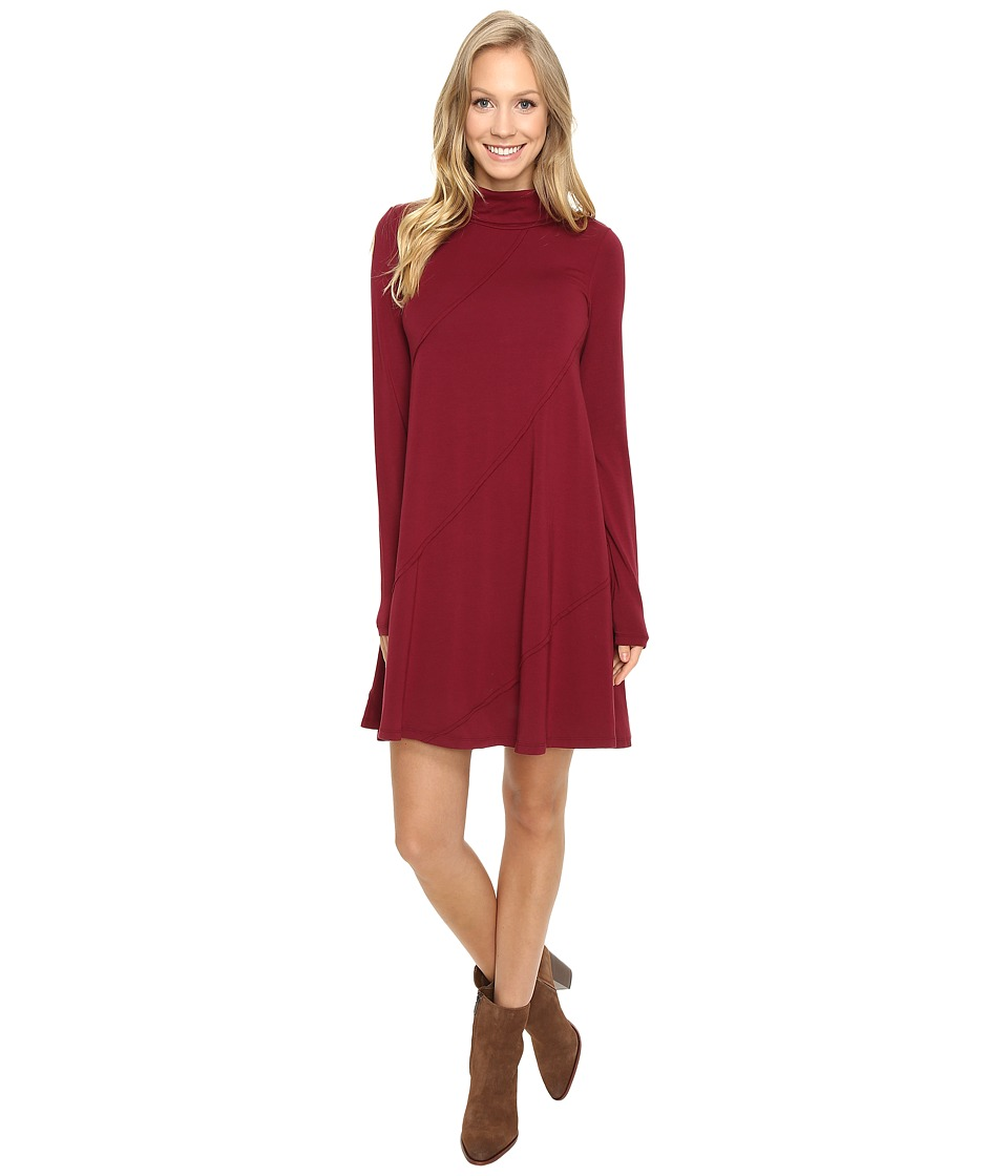 Mod-o-doc - Cotton Modal Spandex Jersey Seamed Funnel Neck Swing Dress (Chianti) Women's Dress
