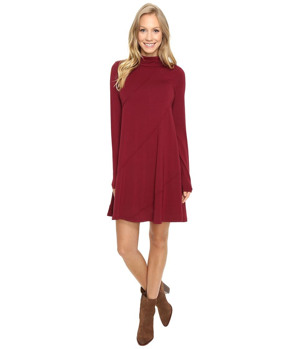 Mod-o-doc - Cotton Modal Spandex Jersey Seamed Funnel Neck Swing Dress (Chianti) Women's Dress