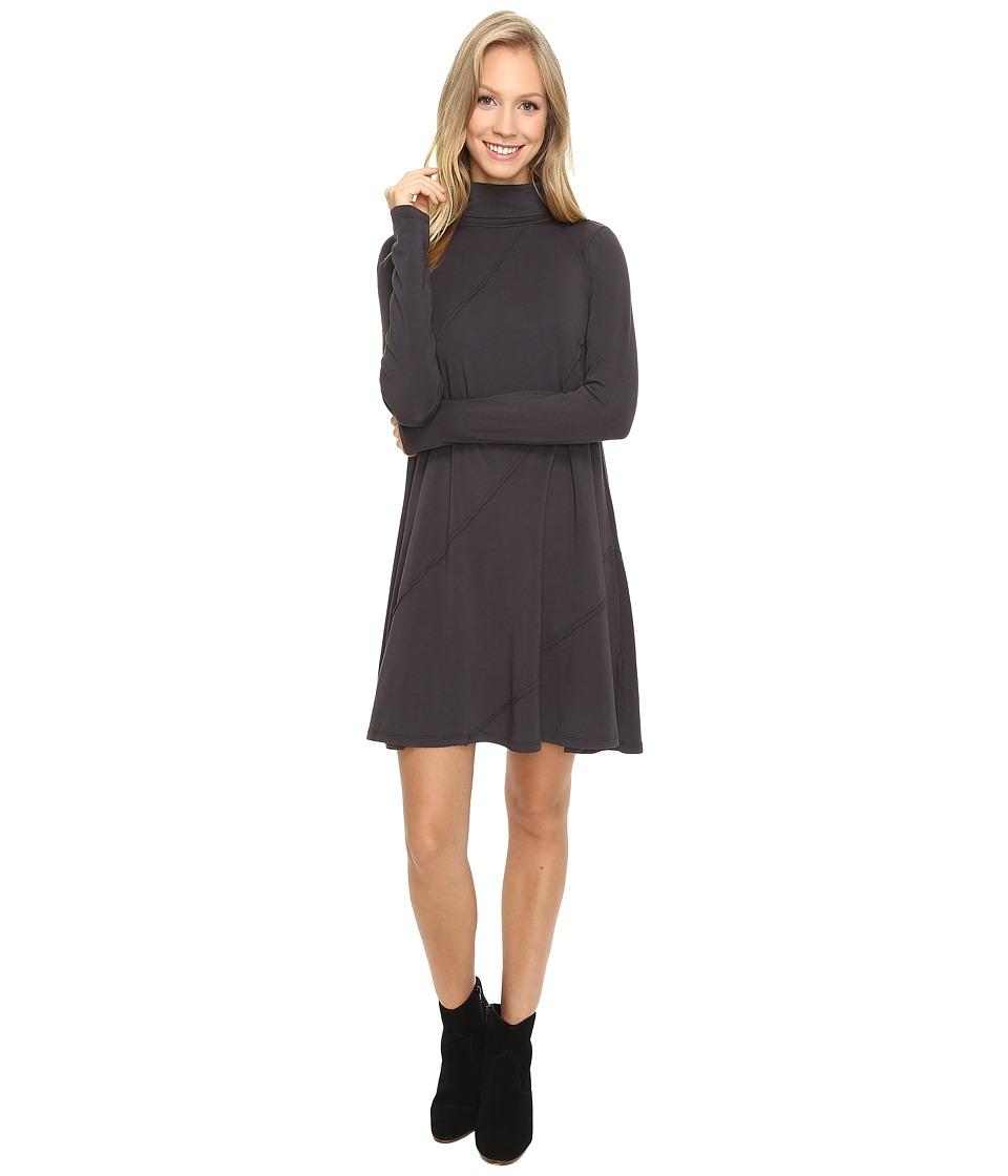 Mod-o-doc - Cotton Modal Spandex Jersey Seamed Funnel Neck Swing Dress (Dark Nickel) Women's Dress
