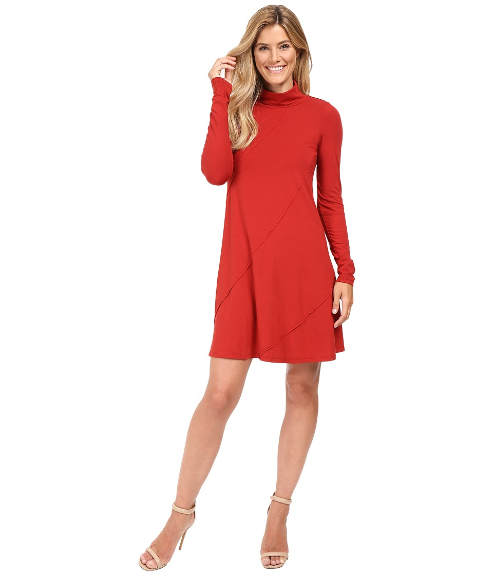 Mod-o-doc - Cotton Modal Spandex Jersey Seamed Funnel Neck Swing Dress (Chicory) Women's Dress