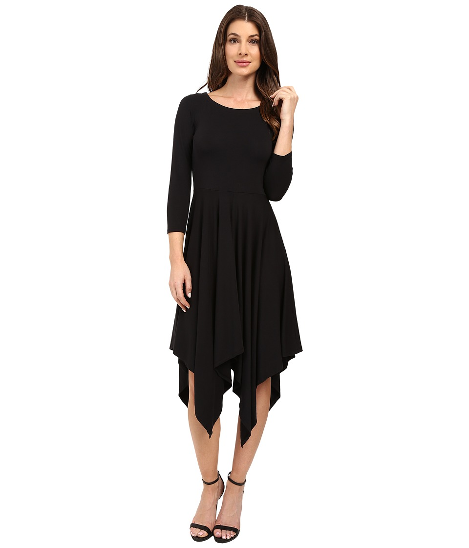 Mod-o-doc - Cotton Modal Spandex Jersey Hanky Hem Dress (Black) Women's Dress