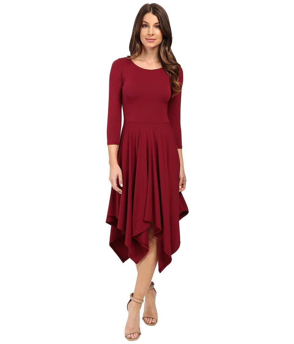 Mod-o-doc Cotton Modal Spandex Jersey Hanky Hem Dress (Chianti) Women