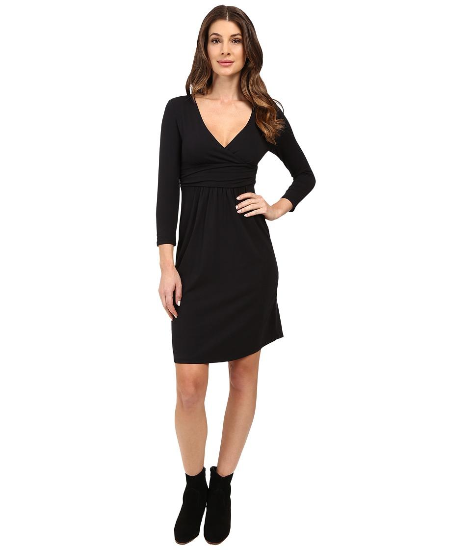 Mod-o-doc Cotton Modal Spandex Jersey Surplice Banded Empire Dress (Black) Women