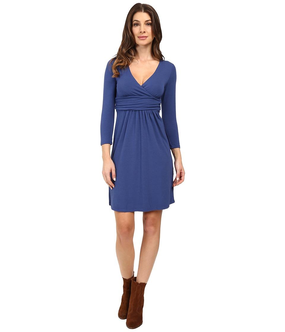 Mod-o-doc Cotton Modal Spandex Jersey Surplice Banded Empire Dress (Bluestone) Women