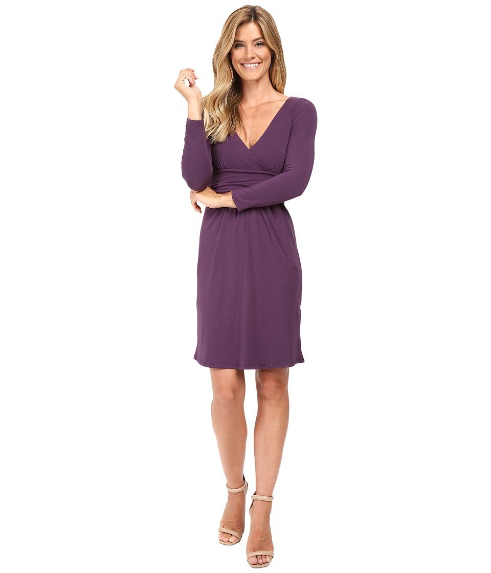 Mod-o-doc Cotton Modal Spandex Jersey Surplice Banded Empire Dress (Aubergine) Women