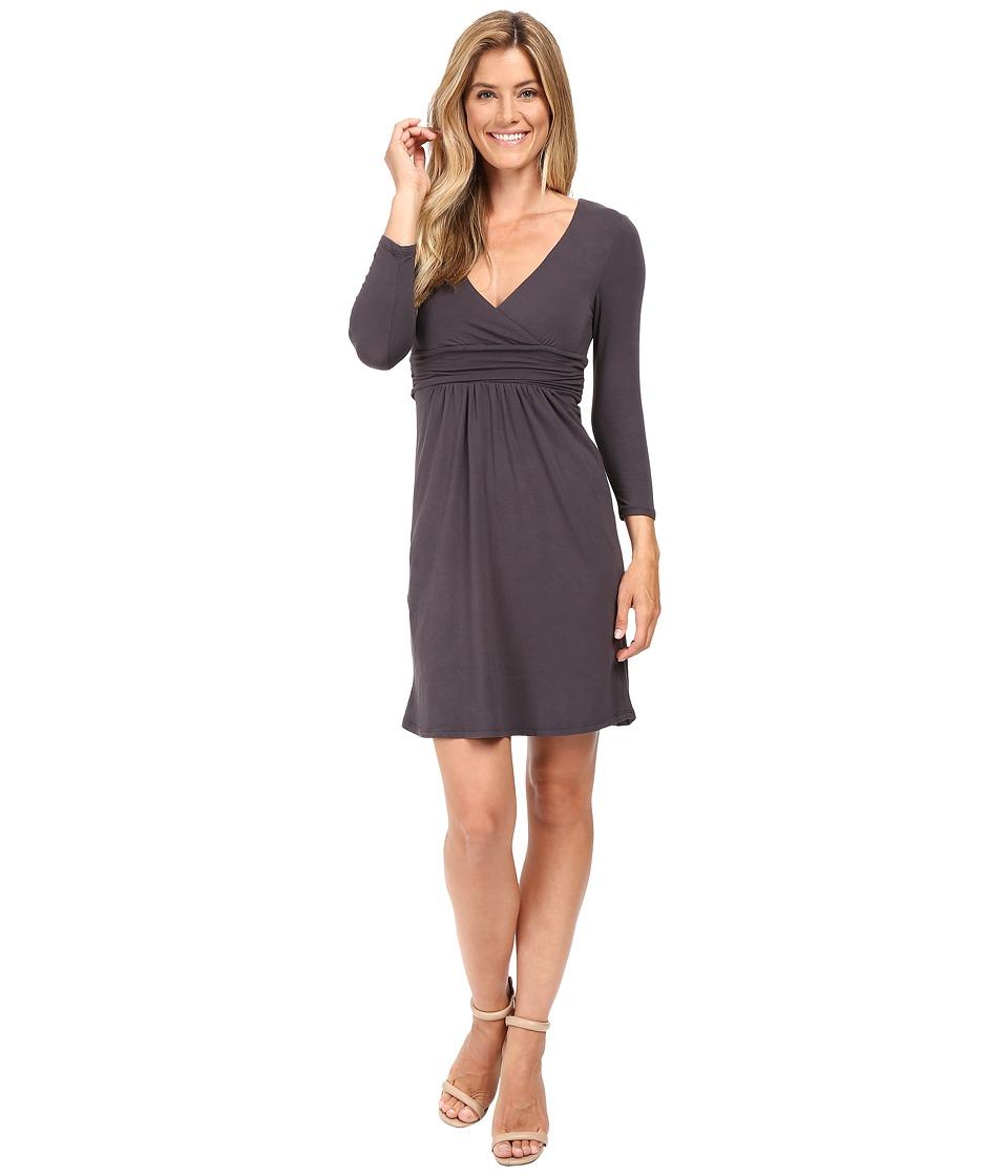Mod-o-doc Cotton Modal Spandex Jersey Surplice Banded Empire Dress (Dark Nickel) Women