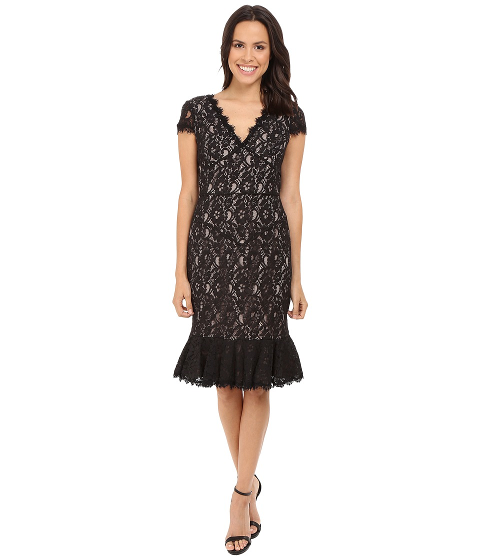 NUE by Shani Lace Dress w/ Flounce Detail (Black/Nude) Women