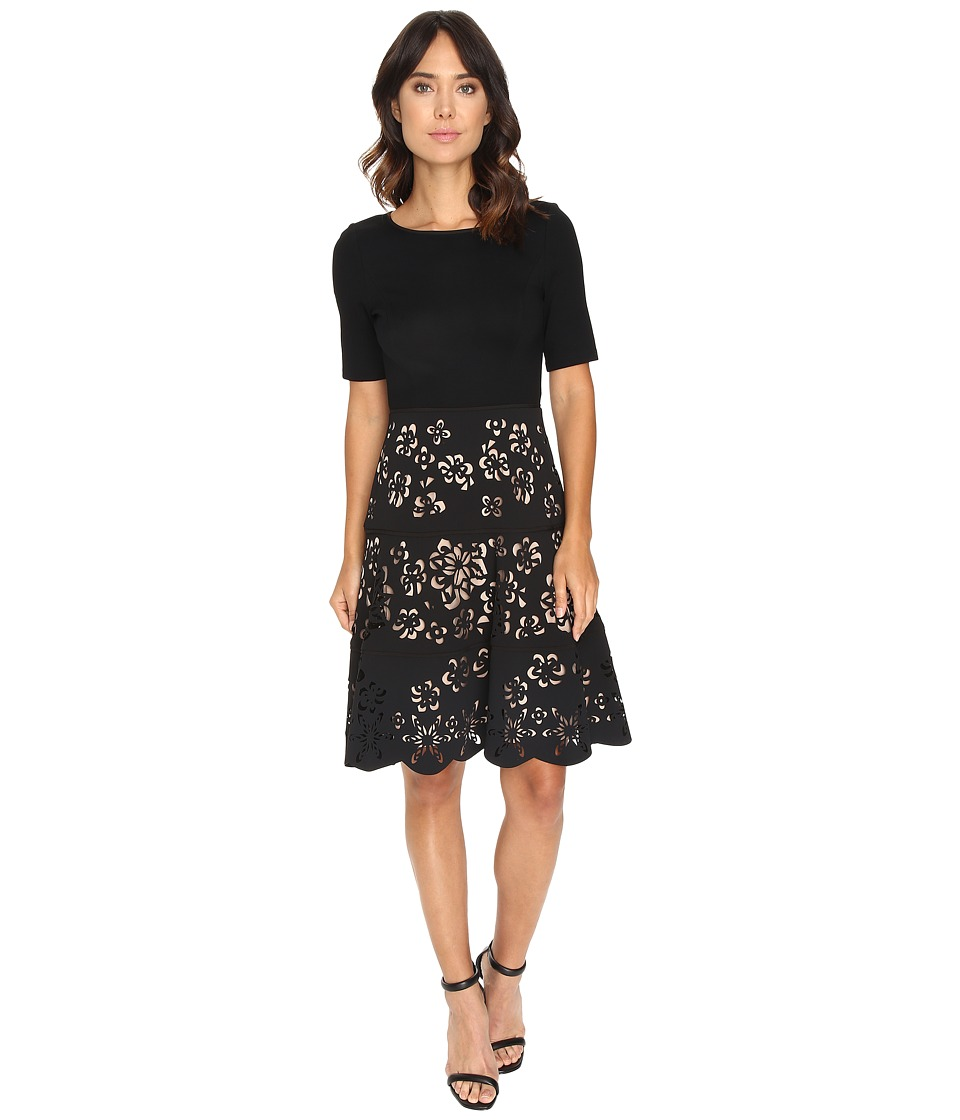 NUE by Shani - Knit Bodice Dress w/ Laser Cutting Fit and Flare Skirt (Black/Nude) Women's Dress