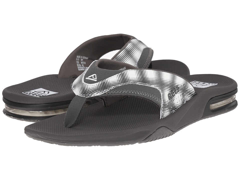 Reef - Fanning Prints (White Plaid 14) Men's Sandals