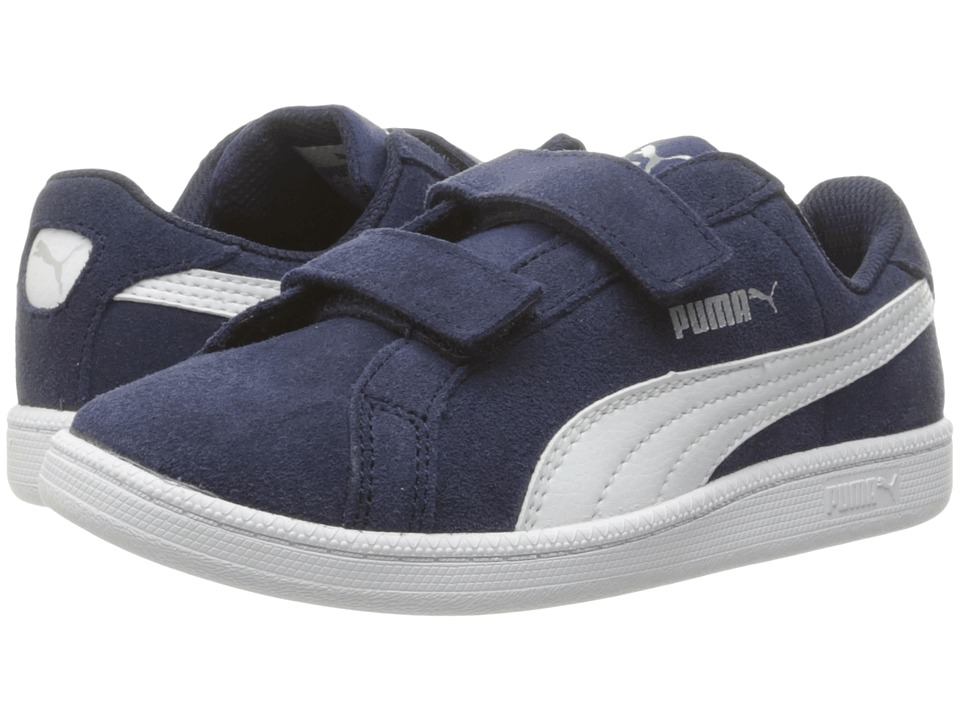 Puma Kids - Smash Fun Suede (Little Kid/Big Kid) (Peacoat/Puma White) Boys Shoes