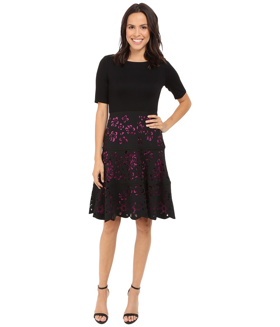 NUE by Shani Knit Bodice Dress w/ Laser Cutting Fit and Flare Skirt (Black/Fuchsia) Women