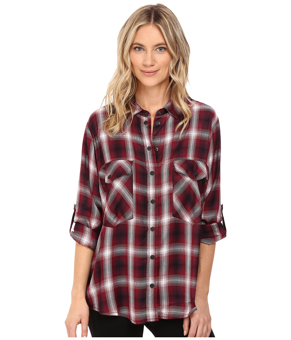 Sanctuary - Boyfriend Shirt (Cabernet Damien Plaid) Women's Clothing