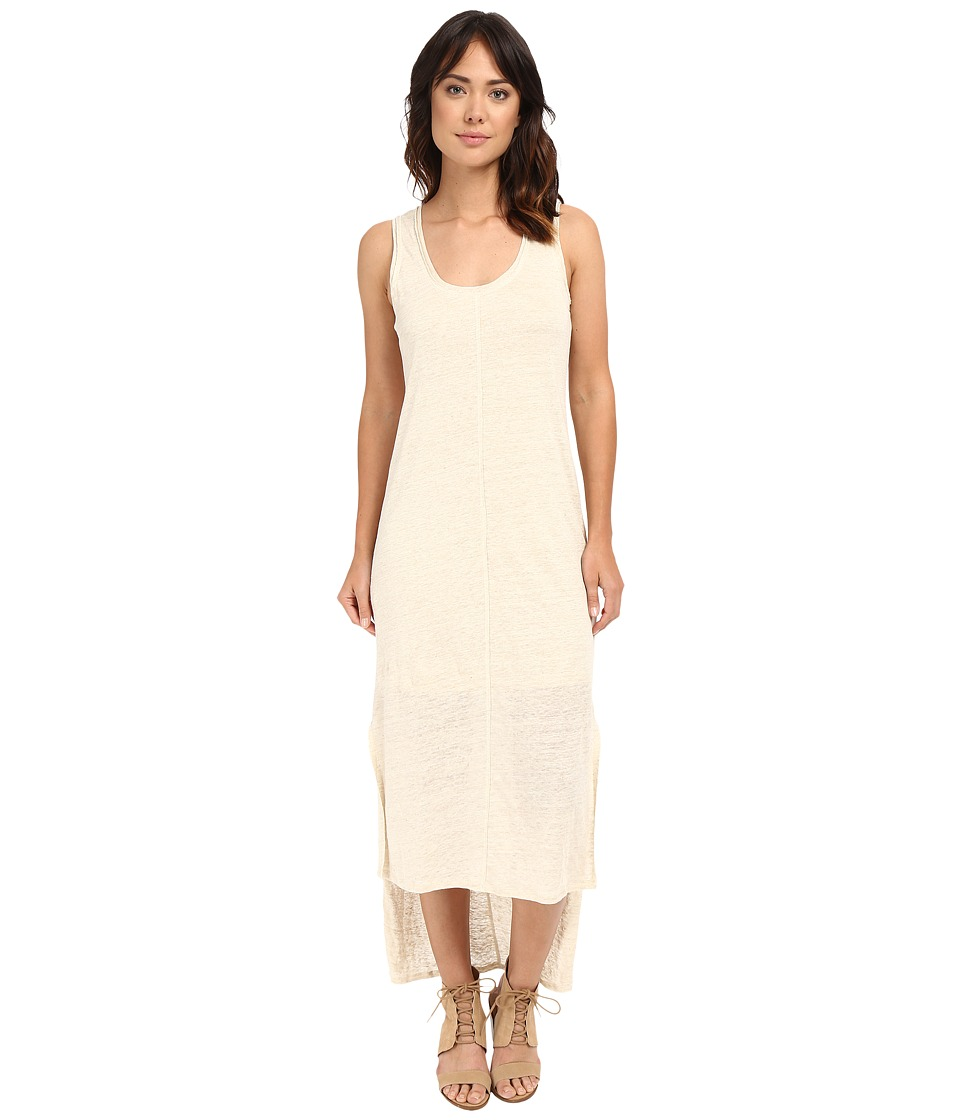 HEATHER - Linen High-Low Tank Dress (Heather Tan) Women's Dress