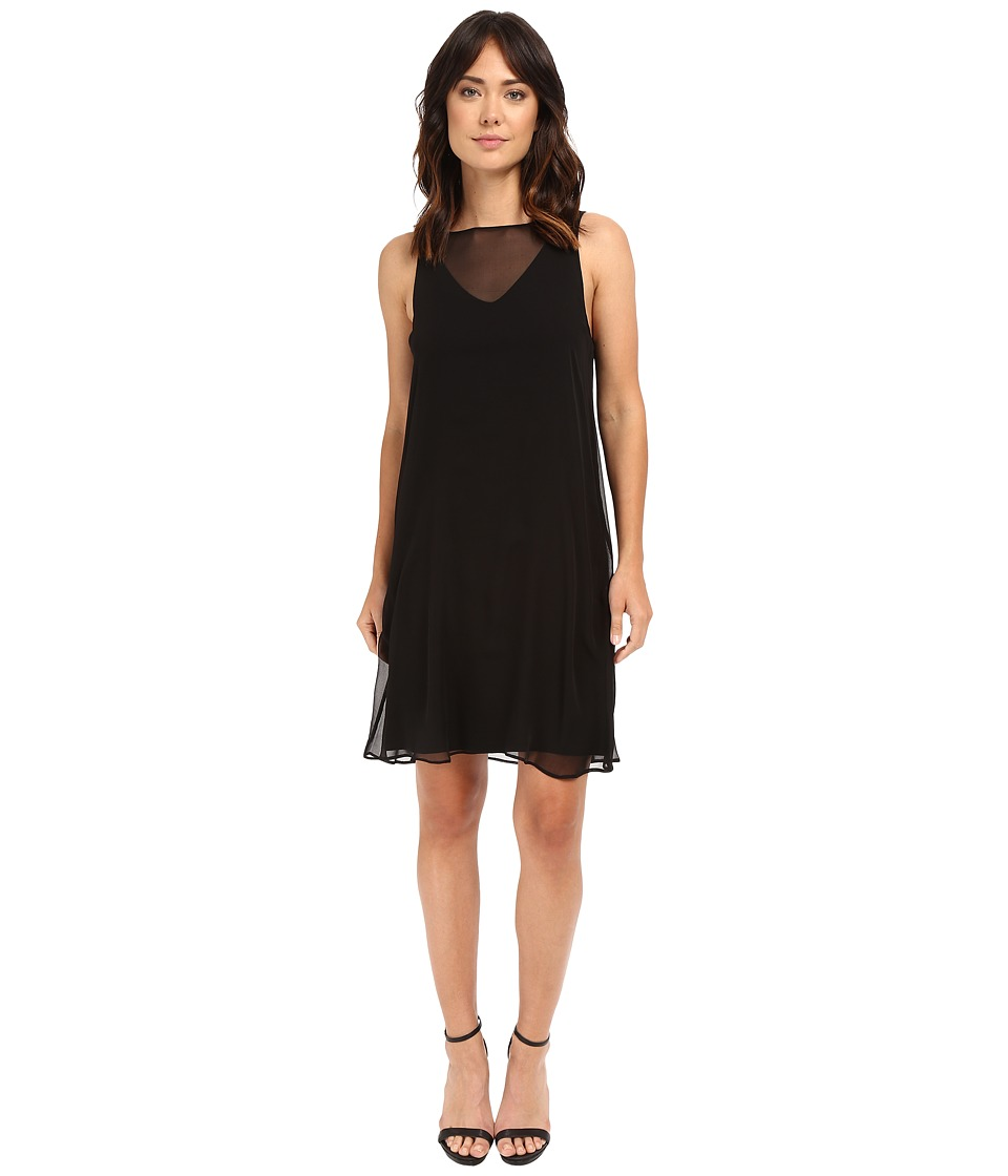 HEATHER - Silk Overlay Dress (Black) Women's Dress