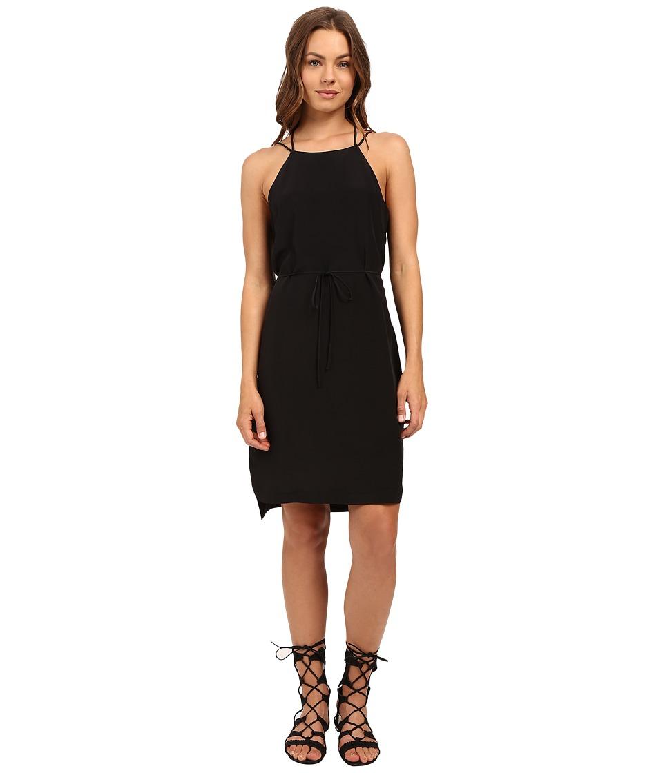 HEATHER - Silk Strappy Back Dress (Black) Women's Dress