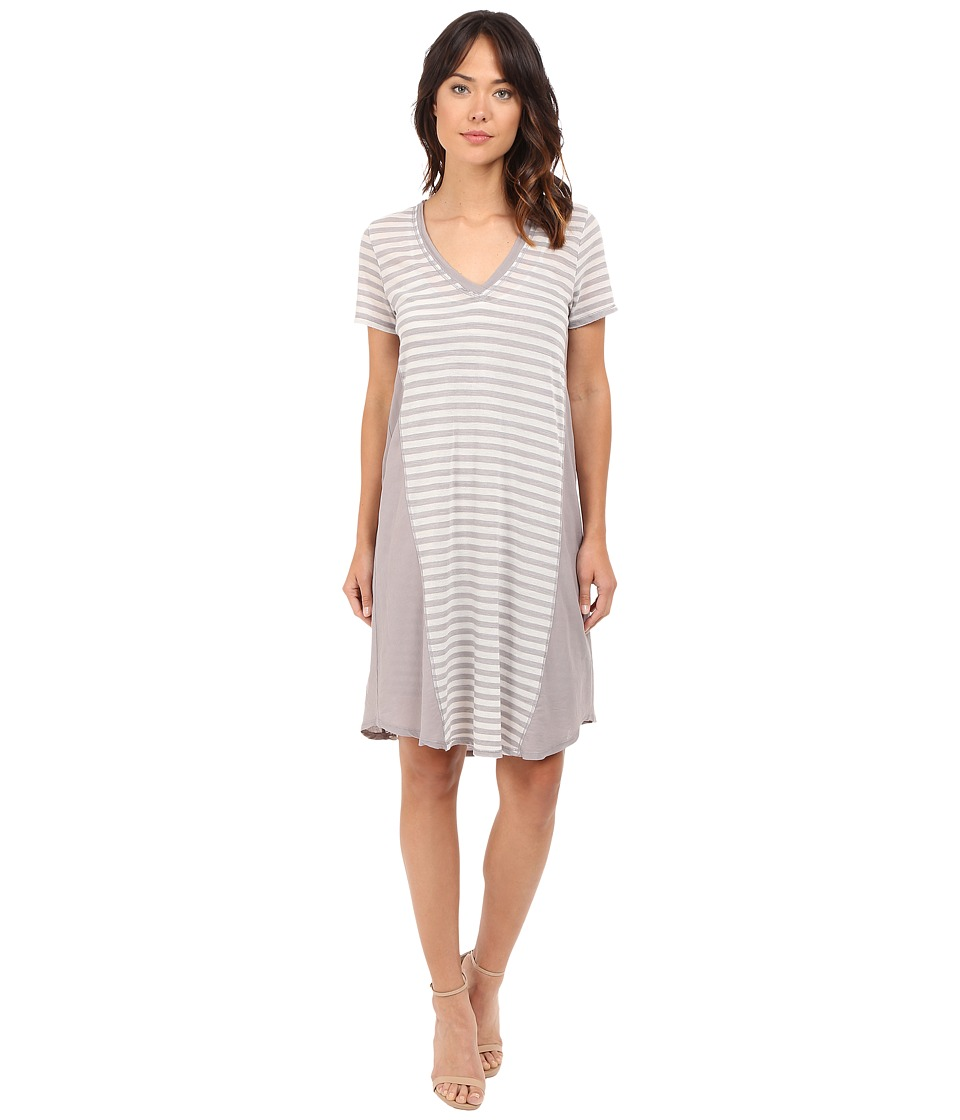 HEATHER - Stripe Cotton Gauze Panel Tee Dress (Chrome) Women's Dress