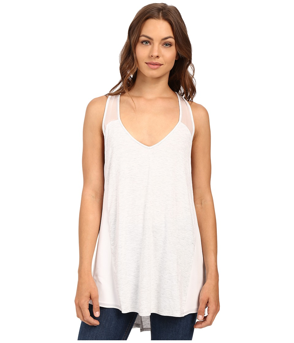 HEATHER - Silk and Jersey Overlap Back Tank Top (Heather White) Women's Sleeveless