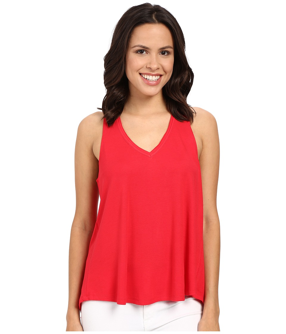 HEATHER - V-Neck Overlap Back Tank Top (Petunia) Women's Clothing