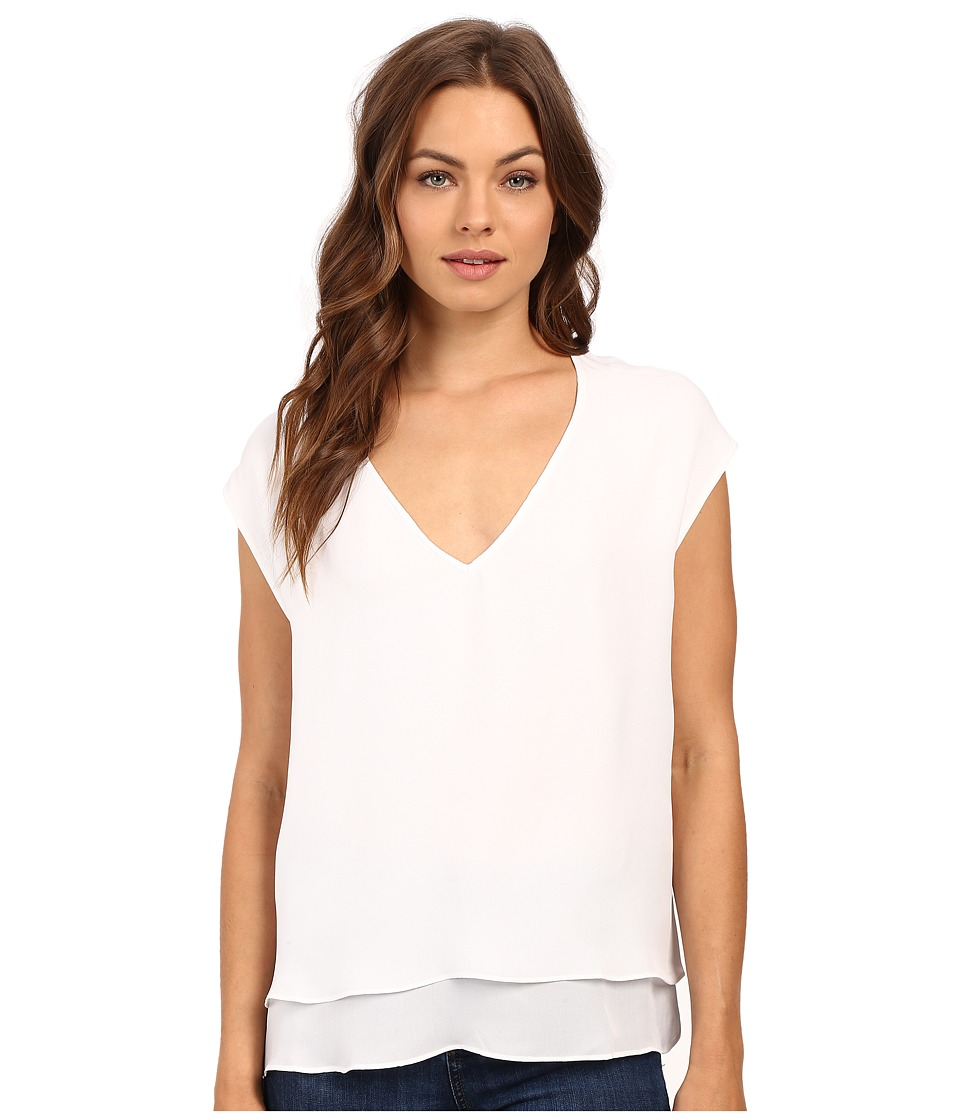 HEATHER - Silk Double Layer V-Neck Top (White) Women's Blouse