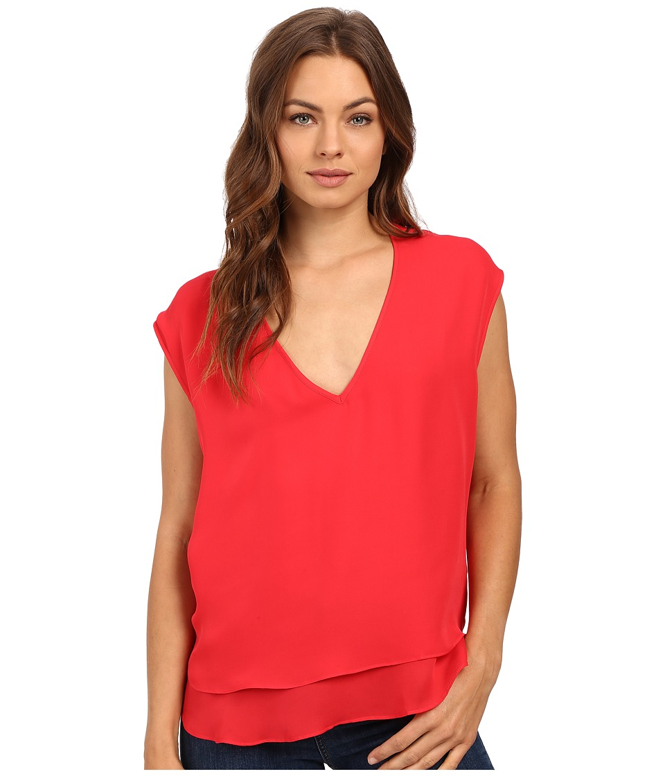 HEATHER - Silk Double Layer V-Neck Top (Petunia) Women's Blouse