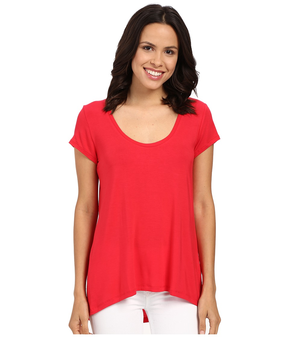 HEATHER - Scoop Neck Tee (Petunia) Women's Short Sleeve Pullover