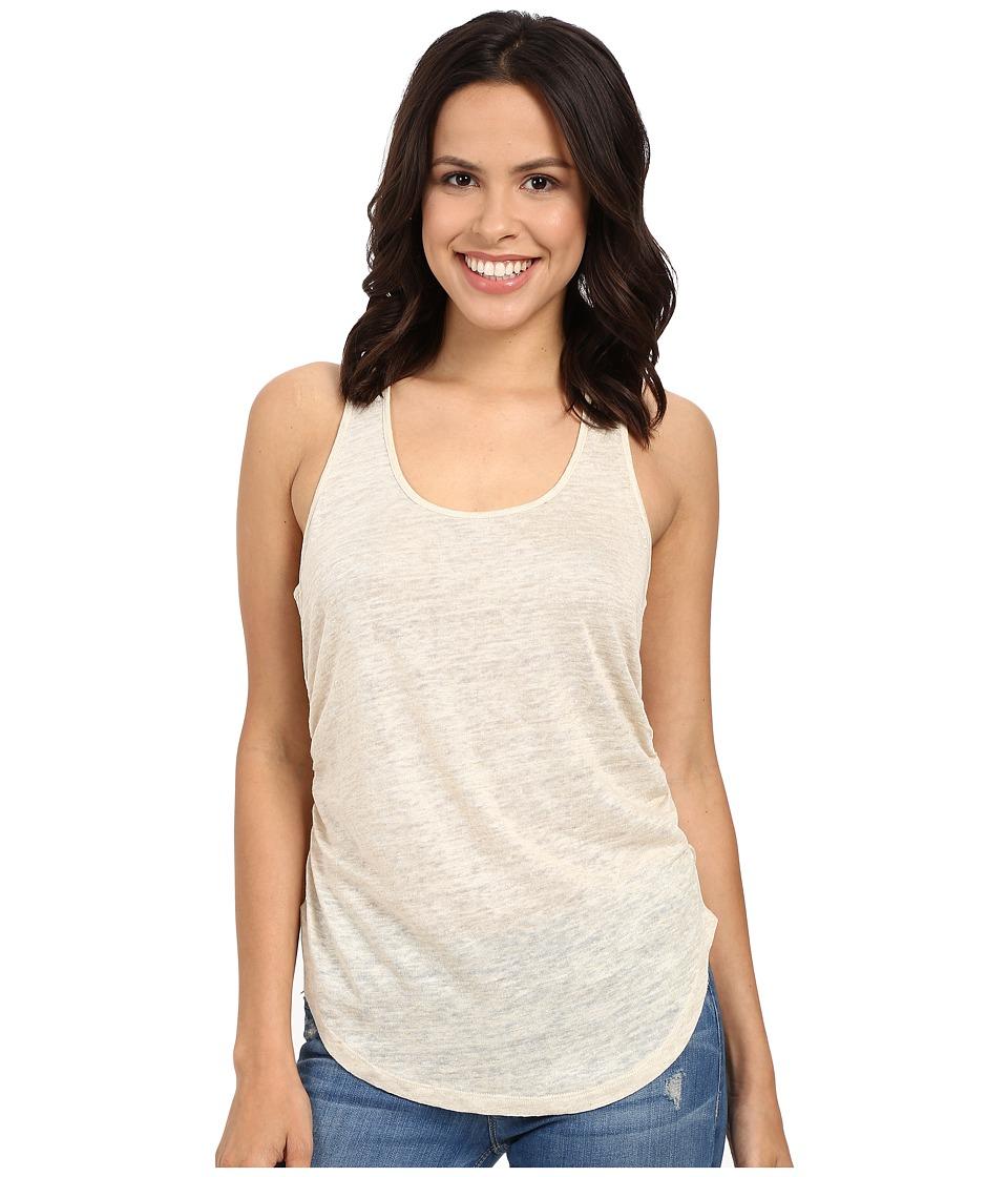 HEATHER - Linen Shirred Side Tank Top (Heather Tan) Women's Clothing