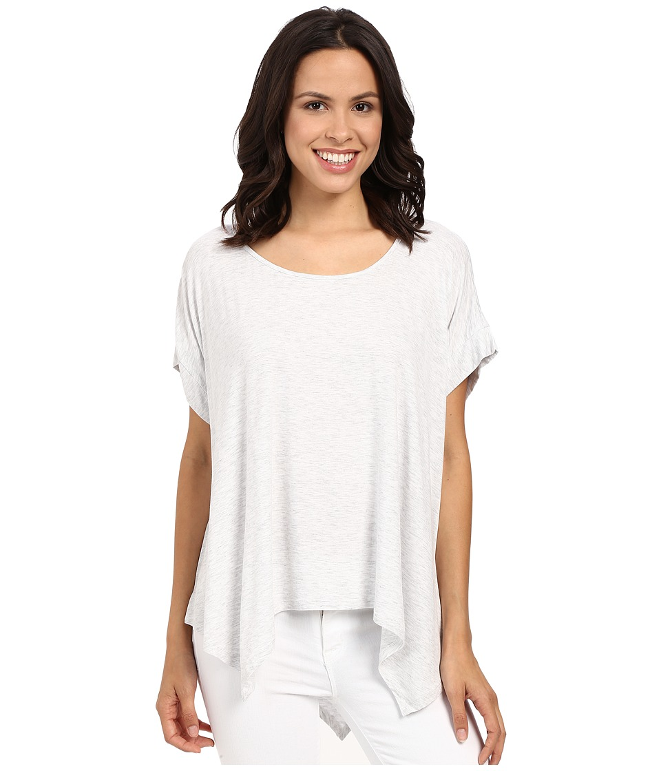 HEATHER - Boxy Swing Hem Tee (Heather White) Women's Clothing