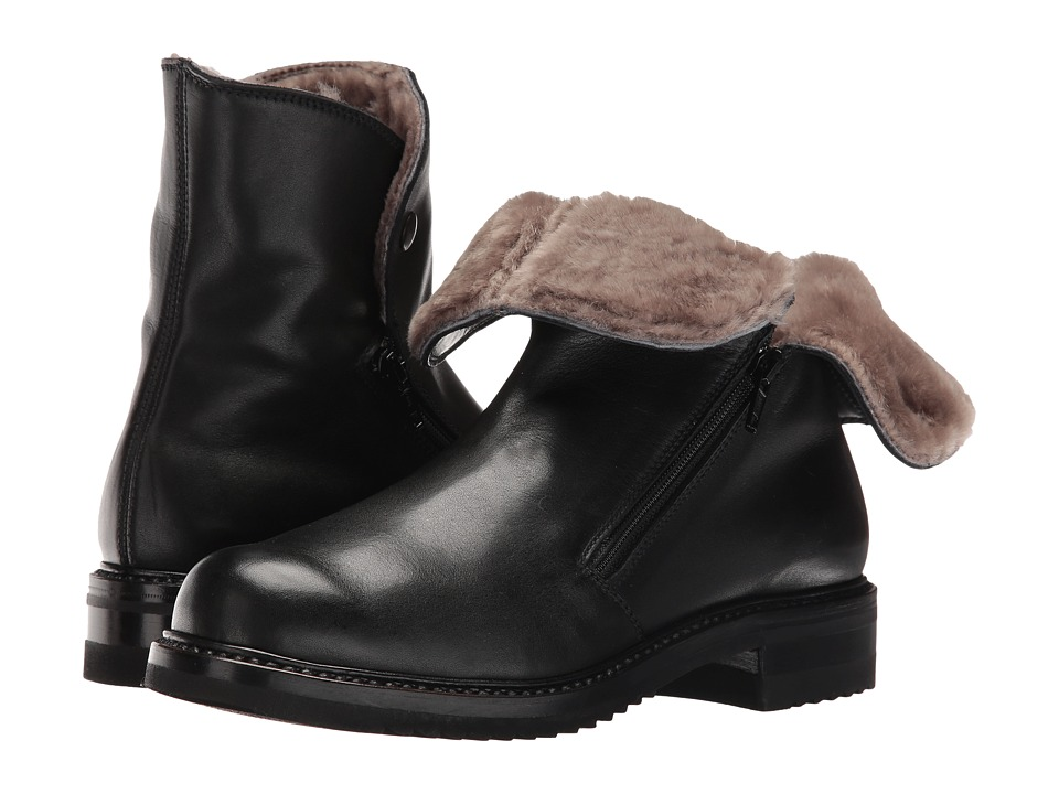 Gravati - Double Zip Ankle Boot With Shearling Lining (Butter Calf Black) Women's Boots