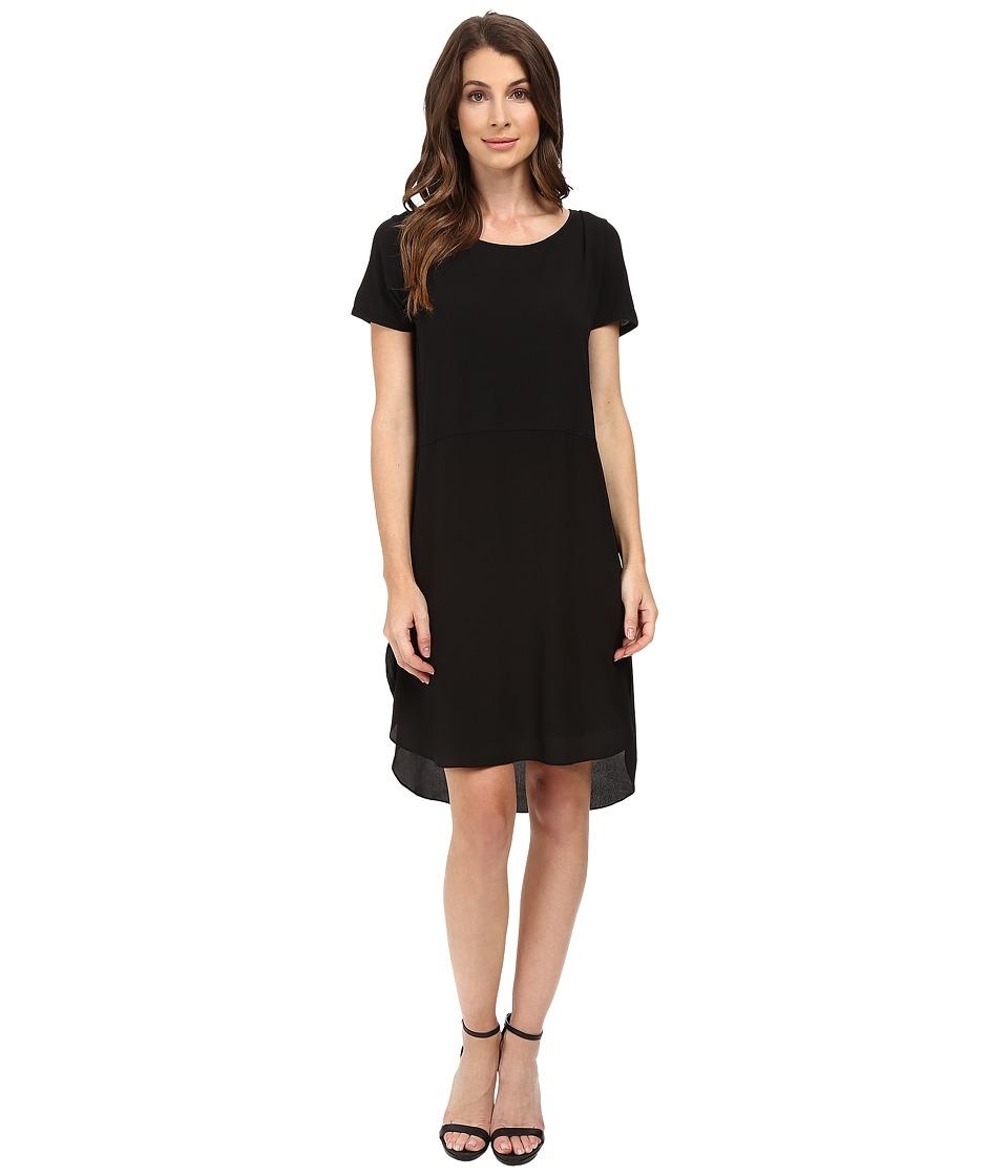 HEATHER - Silk Overlap Tee Dress (Black) Women's Dress