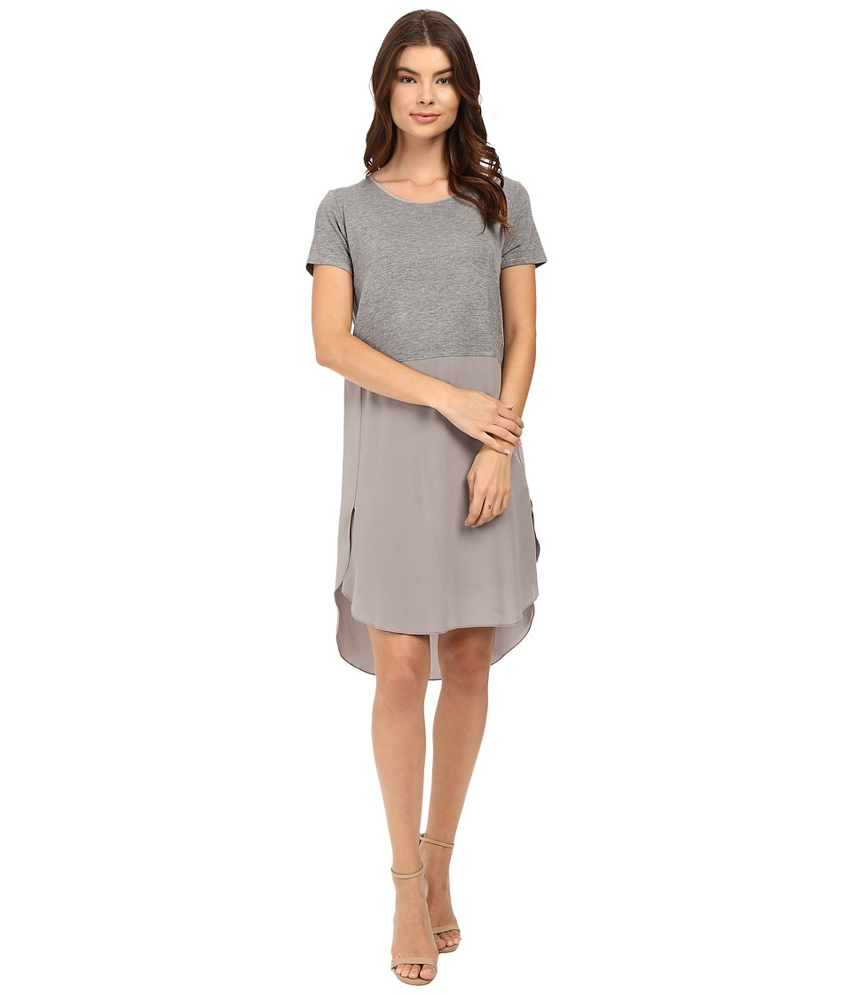 HEATHER - Silk Overlap Tee Dress (Light Heather Grey) Women's Dress