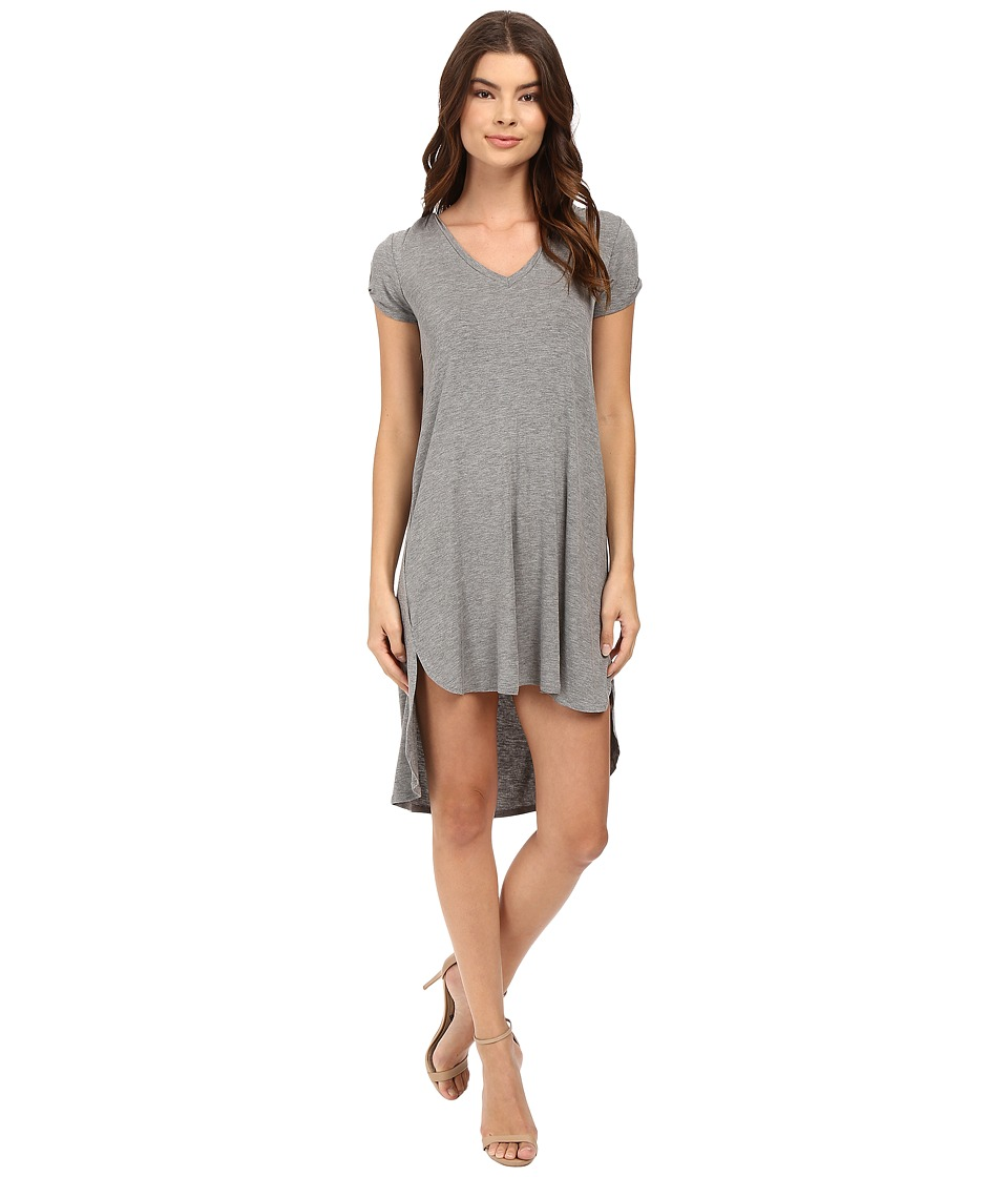 HEATHER - Keyhole Sleeve Tee Dress (Light Heather Grey) Women's Dress