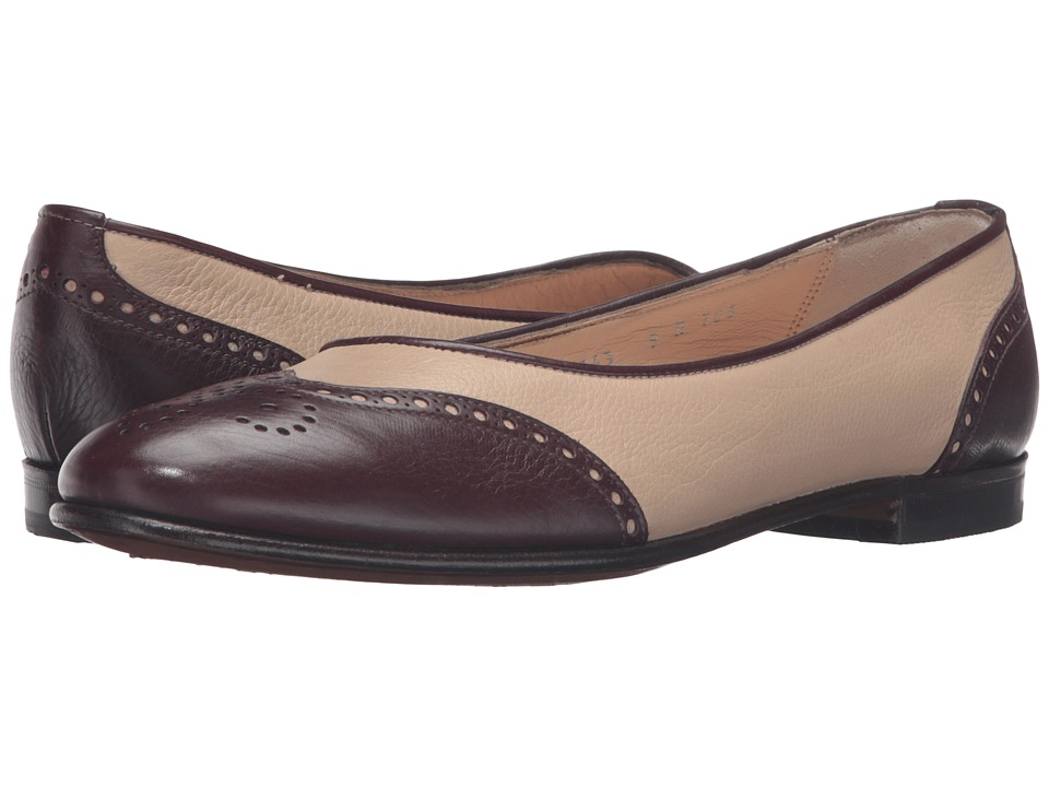 Gravati - Ballerina Wingtip (Burgundy/Cream) Women's Dress Flat Shoes