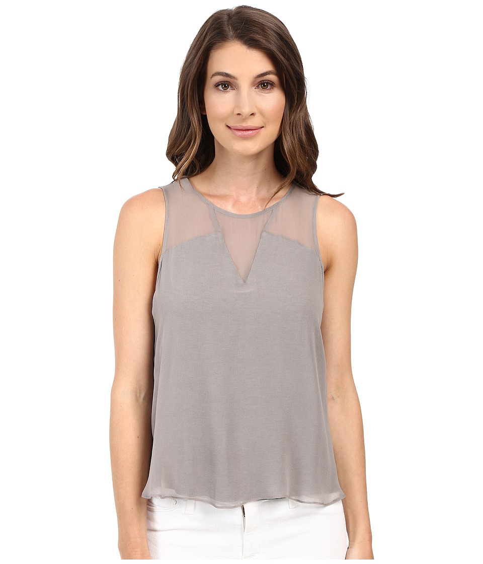 HEATHER - Silk Block Tank Top (Light Heather Grey) Women's Sleeveless