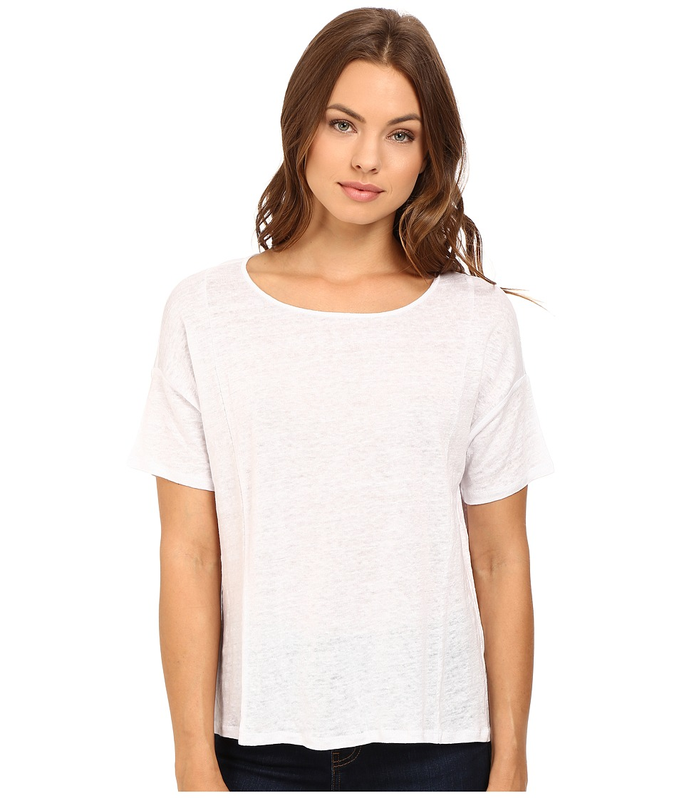 HEATHER - Linen Flounce Back Box Tee (White) Women's Clothing