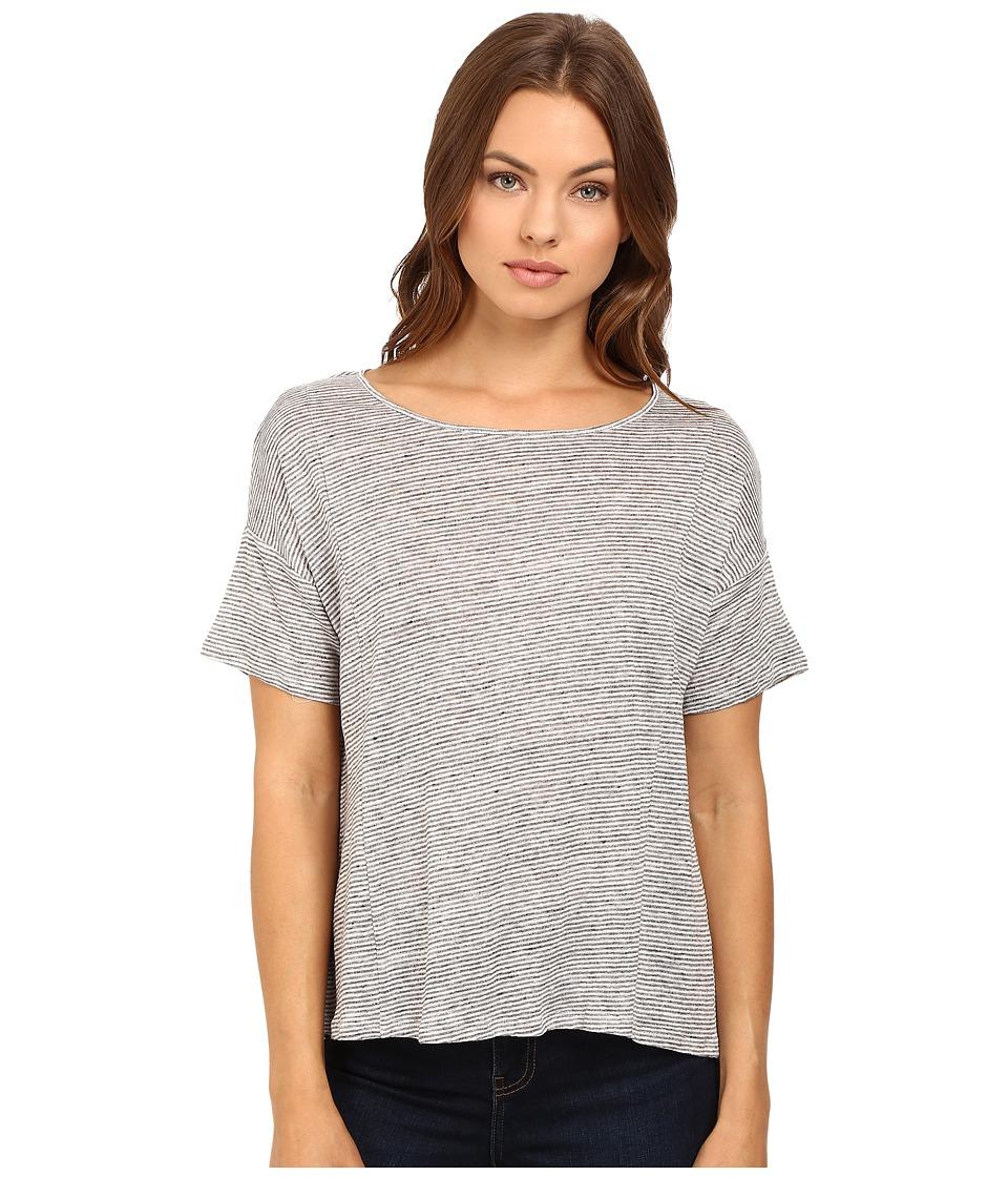 HEATHER - Linen Flounce Back Box Tee (Heather Grey/White) Women's Clothing