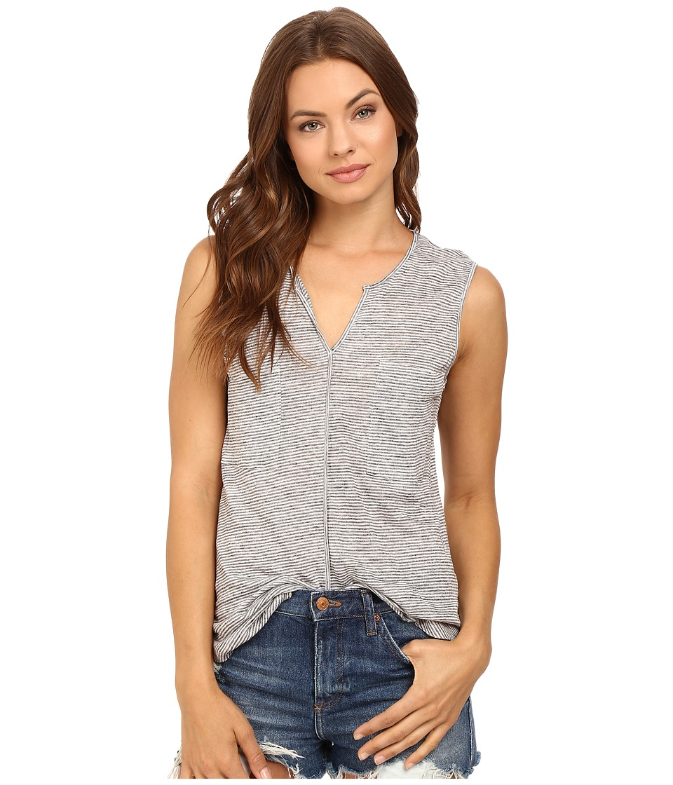 HEATHER - Linen Sleeveless Pocket Tee (Heather Grey/White) Women's Clothing