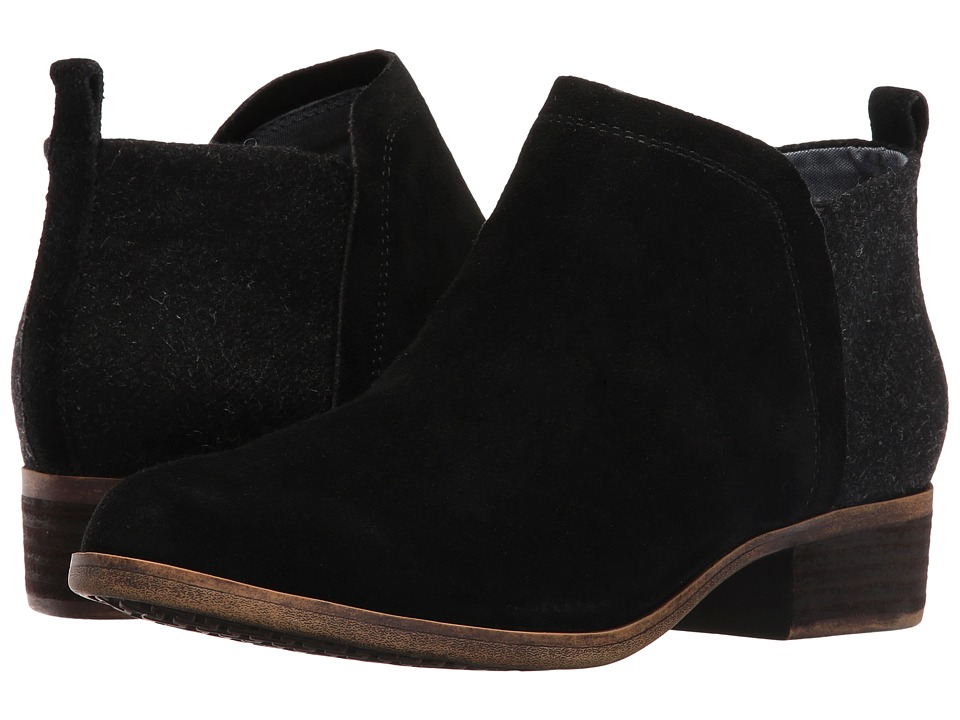 TOMS Deia Bootie (Black Suede/Wool) Women