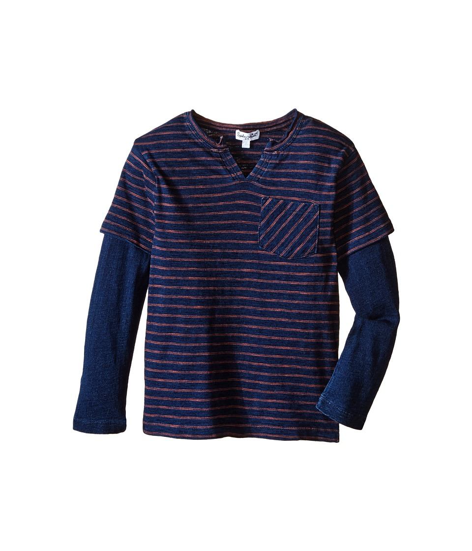 Splendid Littles - Indigo Twofer Crew with Raw Edge Neck (Little Kids/Big Kids) (Dark Stone Stripe) Boy's Clothing