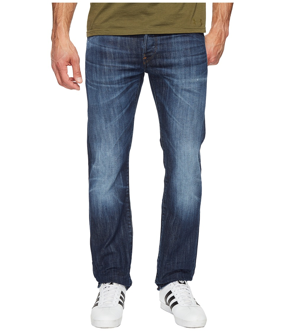 G-Star - Attacc Straight Fit Jeans in Blue Denim Stretch Denim Dark Aged (Dark Aged) Men's Jeans