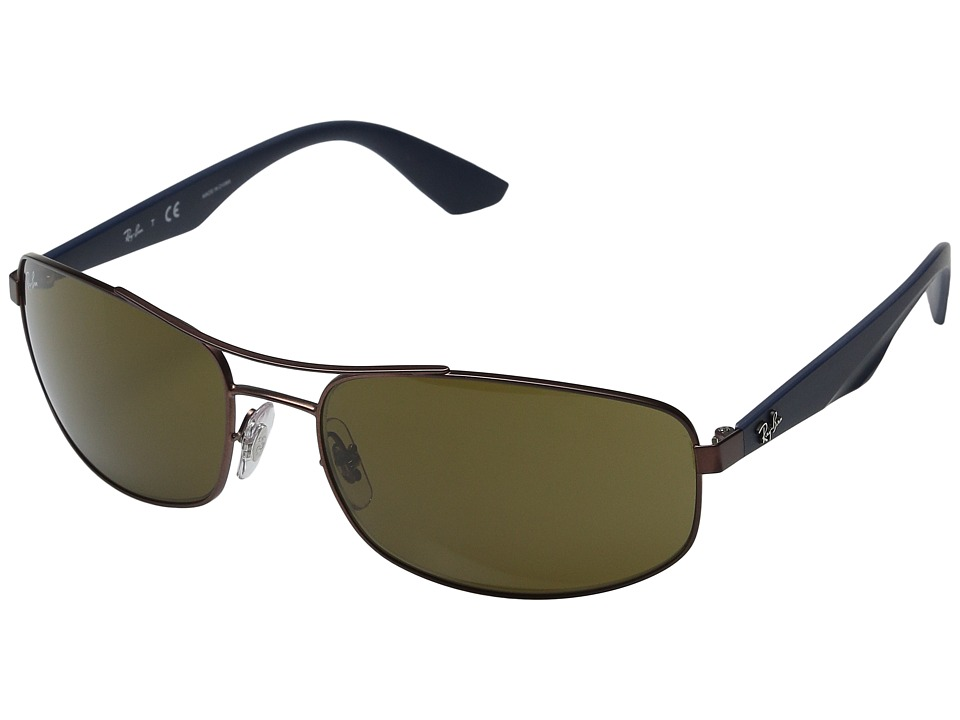 Ray-Ban - 0RB3527 (Matte Dark Brown) Fashion Sunglasses