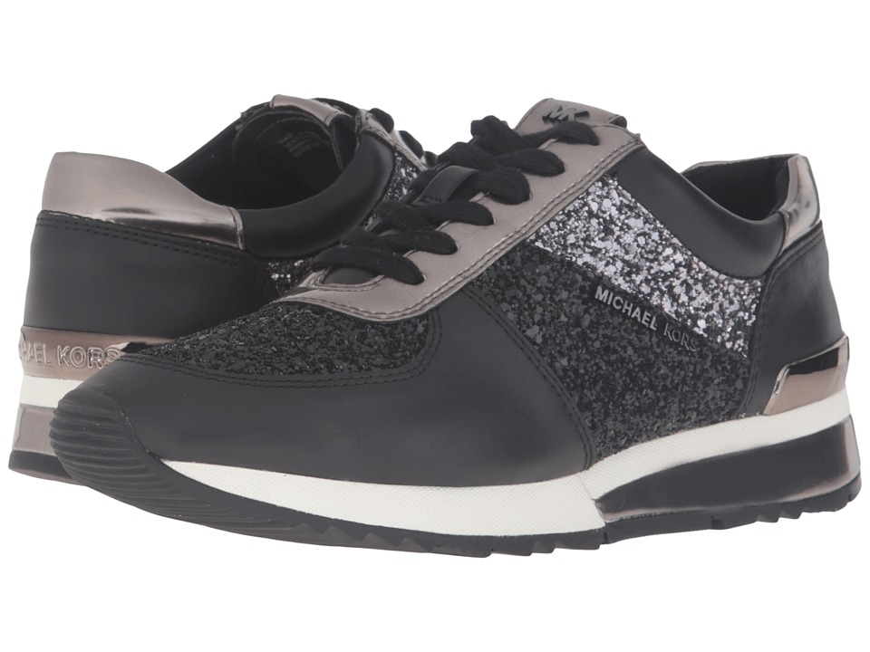 MICHAEL Michael Kors - Allie Trainer (Black Glitter/Vachetta/Mirror Metallic) Women's Lace up casual Shoes