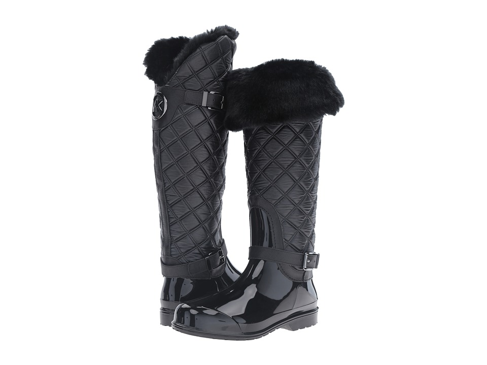 MICHAEL Michael Kors Fulton Quilted Rainboot (Black Rubber/Winter Shearling/Vachetta) Women